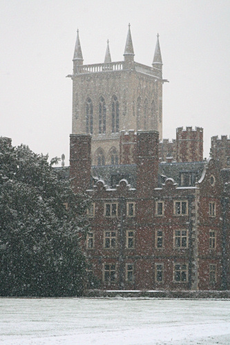 St. John's College chapel in the falling snow