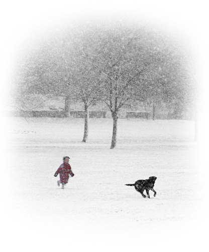 Girl and Dog on Jesus Green