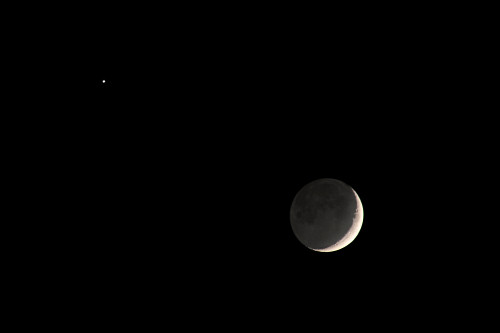 Venus, Moon, Earthshine