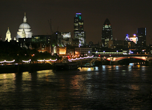St. Paul's Cathedral, the Gherkin, and the City at night