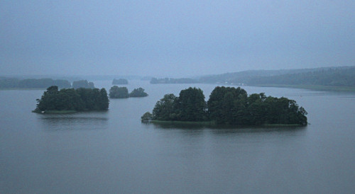 Islands on lake in Sweden