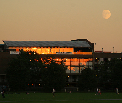 Gym at sunset with moon