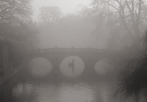 Punting under Clare Bridge in the mist