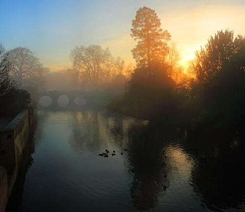 Clare Bridge in the mist at Magic Hour