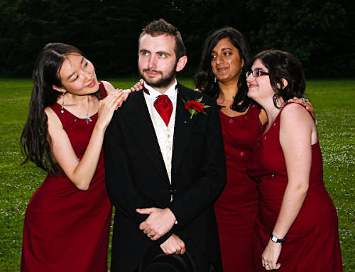 Wedding Groom with Bridesmaids