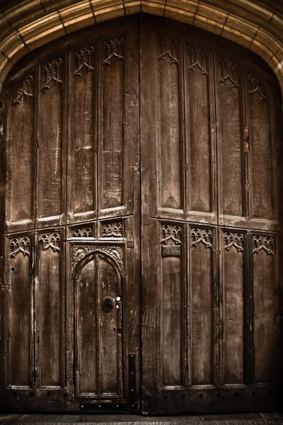 Old wooden doorway, Old Schools