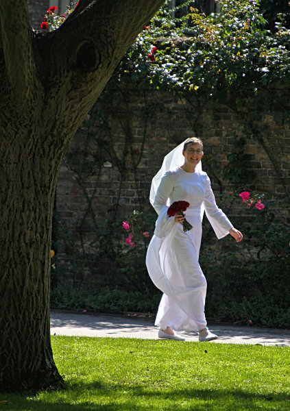Wedding bride walking in sunshine