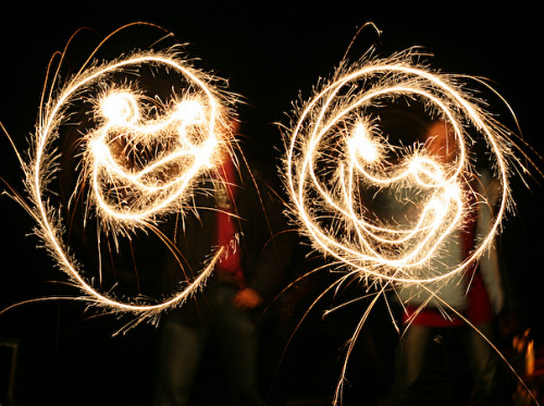 Light-painting smiley faces with sparklers