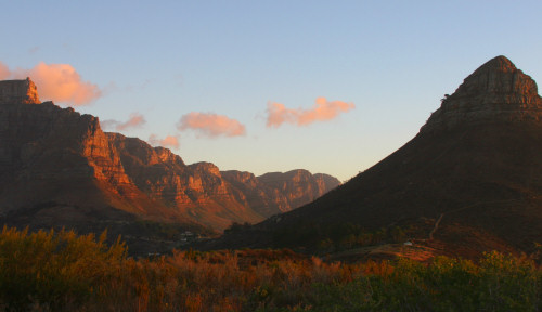 Table Mountain lit by the setting sun