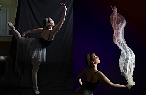 Photos of dancer with scarf