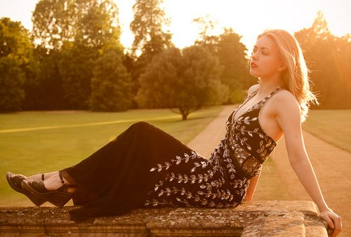 Samantha, model reclining at sunset