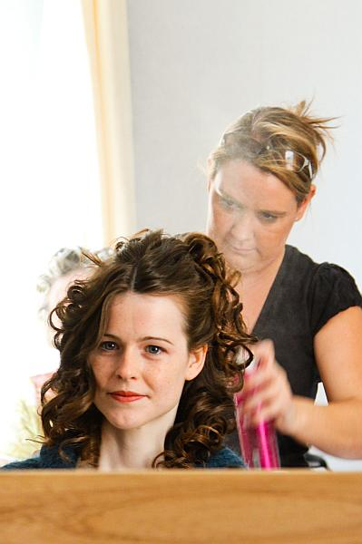 Wedding preparations, hairdresser