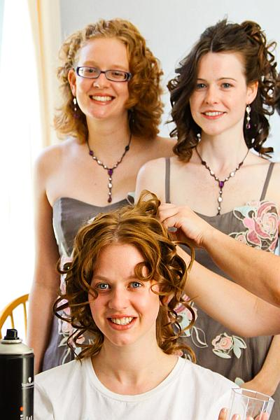 Wedding preparations, bride, hairdresser, bridesmaids
