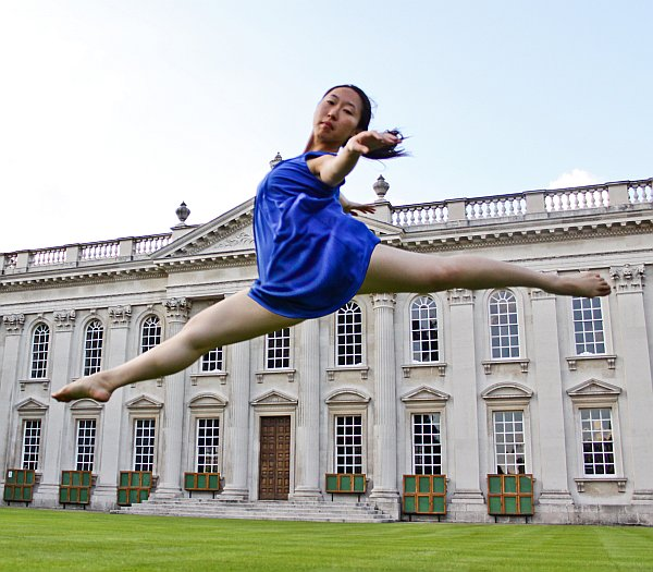 Dancer leap outside Senate House