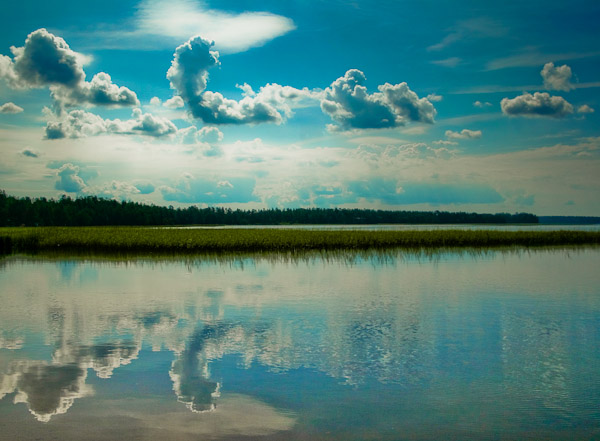 Reflection of clouds in lake, Sweden