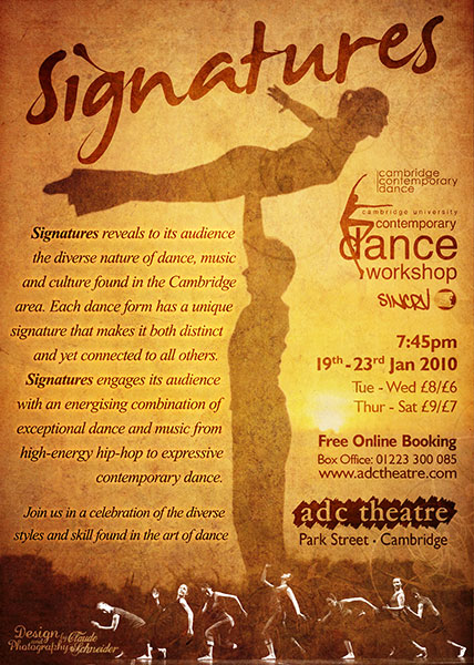 Signatures Cambridge Dance Show Flyer 2010