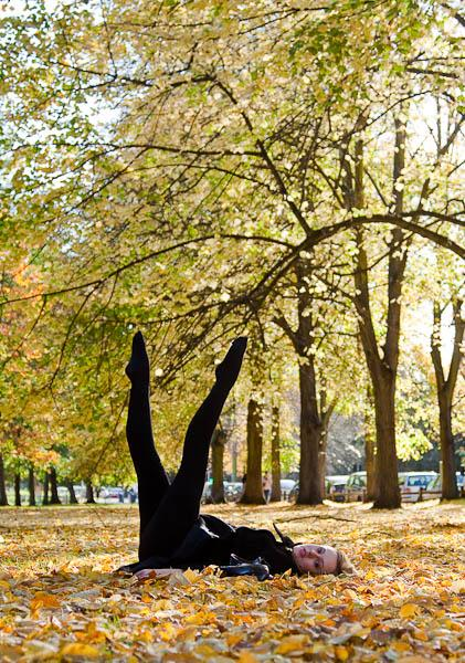 Ballet dancer in autumn leaves