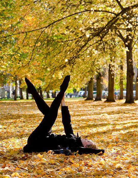 Ballet dancer in autumn leaves