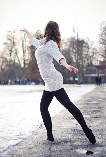Ballet dancer in the snow