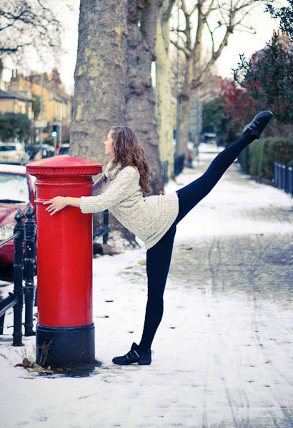 Ballet dancer and post box