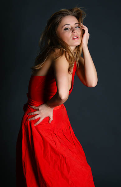 Red dress fashion model