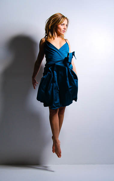 Jump in blue dress